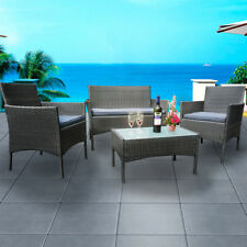 Grey Rattan Wicker Garden Furniture Conservatory Armchair Sofa Coffee Table Set