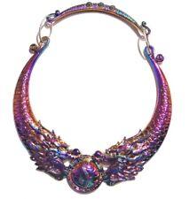 RAINBOW METAL DRAGON CHOKER Asian Chinese 90's yin yang retro collar necklace 6I