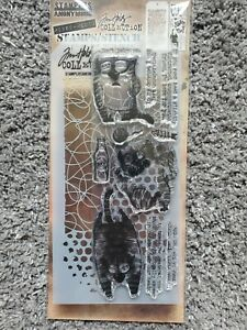 Tim Holtz Stampers Anonymous Snarky Cat Rubber Cling Stamp Set THMM110