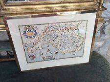 VINTAGE 1971 REPRODUCTION SAXON COLOUR MAP OF GLAMORGANSHIRE 1578 IN BRASS FRAME