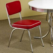Red Retro Dining Chairs Chrome Vinyl Vintage 50's Diner Style Seats SET OF 2  S
