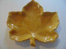 "Vintage/Retro Style - 8"" - Leaf Design Plate/Dish - Beautiful Yellow Ochre Glaze"