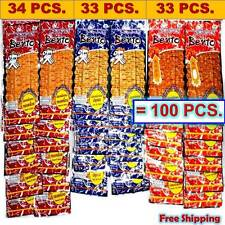 100 X 5g. BENTO Squid Seafood Snack 3 MIX FLAVORS THAI FOOD Chili Spicy Low Fat