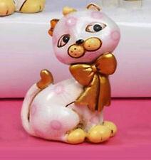 Bomboniera bimba 2 pezzi gatta gattina in resina h6 con macchie e fiocco