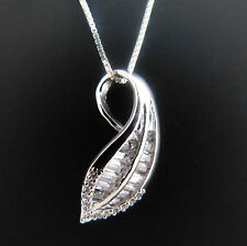 FASHIONS FOREVER® Sterling Silver Italian Box Chain, Cubic Zirconia LEAF Pendant