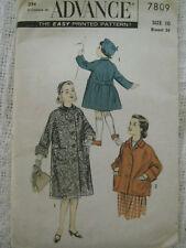 VTG 50's Girl Long or Short Coat Advance Sewing Pattern 7809 Sz 10 Girls