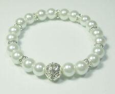 Funkelndes Perlen Armband weiß  19cm  Strassperle Strass Rondelle NEU