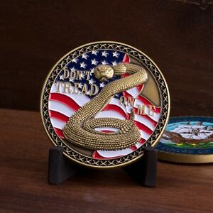 """NAVY DON'T TREAD ON ME FLAG COLOR 1.75"""" MILITARY  CHALLENGE COIN"""