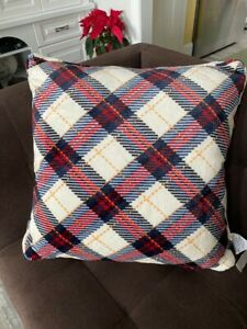 "NEW CUDDL DUDS Cozy Faux Sherpa Red Plaid Plush Throw Pillow Christmas 24"" NWT"