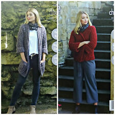 KNITTING PATTERN Ladies EASY KNIT 3/4 Sleeve Jackets Indulge Chunky 4859