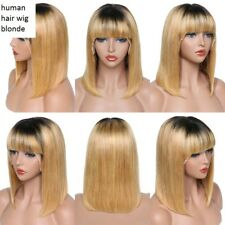 arched fringe with point cut end blonde ombre lace brazilian human hair bob wig