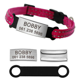 Breakaway Cat Collar with Engraved Personalized Stainless Steel Slide-On ID Tag