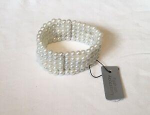 Imitation Pearl Elasticated Bracelet