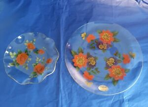 Chance Glass Floral Plate Dish Ruffle Edges Gold Lined Vintage and plate roses