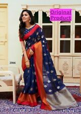 Indian Pakistani Womens Soft Linen Silk Saree Sari for Party Wear with Blouse SS