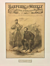 Antique General Tecumseh Sherman Harpers Weekly Cover Framed & Matted