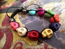 Shamballa SKULL HEMATITE Beaded Bracelet Adjustable Multi-Colour Punk Goth