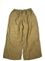 Flax Pants Medium Womens Very Oversized 100% Linen Lagenlook Crop Capris Brown h