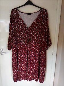 Yours - Ditsy Floral Print Dress with Ruched Detailing - Size 30/32 - New