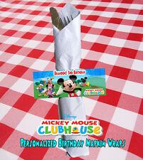 Mickey Mouse Clubhouse Birthday Personalized Napkin Wraps Set of 6 (Printable)