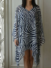 4052 Caftan Tunic Poncho Zebra Printed Casual Chiffon Batwing Blouse Top L XL 2X