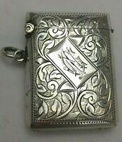 Antique Edwardian Sterling Silver Match Safe Vesta Case 1909
