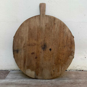 ANTIQUE VINTAGE FRENCH BREAD OR CHOPPING CUTTING BOARD WOOD ROUND 1109211