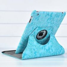360 Rotating Embossed Flowers Stand PU Leather Case Smart Cover For iPad 2/3/4