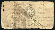 1815 12 1/2 CENTS NEW HAVEN BANK NEW HAVEN, CT OBSOLETE SCRIP VERY RARE