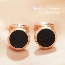 18K Rose Gold Plated Simulated Black Agate Round Glitter Shinny Men`s Cufflinks