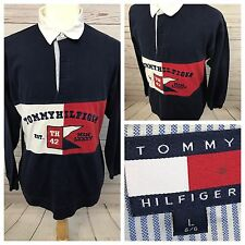 Vintage Tommy Hilfiger Mens Big Logo Flag Long Sleeve Polo Spell Out Large Rugby