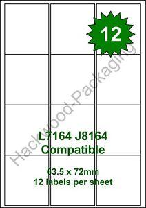 12 Labels per Sheet x 100 Sheets White Matt Copier Inkjet Laser