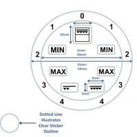 Grill Gradient Dial + 7 Symbols Adhesive Knob Sticker Stove Cooker Oven Label