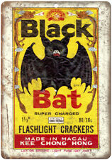 "Black Bat Flashlight Firecracker Package Art 10""X7"" Reproduction Metal Sign ZD33"