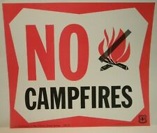 Unused Colorful Old 1969 Forest Service Sign NO CAMPFIRES HERE