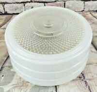 Vintage Mid Century White Clear Glass White Ceiling Fixture Shade MCM Kitchen
