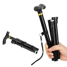 Black Metal Walking Stick Easy Adjustable Folding Collapsible Travel Cane -XU03
