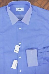 NWT Brioni French Cuff Button Front Dress Shirt Blue Men's 16R (Large L)