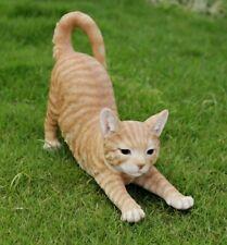 New Stretching Large Orange Tabby Cat Figurine - Life Like Statue Home / Garden