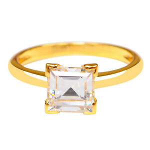 14KT Yellow Gold With D-Color Square Shape 2.90 Carat Solitaire Anniversary Ring