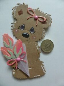 4 Large pink pearl rosebud bouquet Birthday Bear sweet 3D Handmade Card Toppers