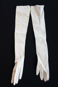 VINTAGE 1940'S LONG CREAM COLOR DEERSKIN LEATHER DRESS GLOVES SIZE 5