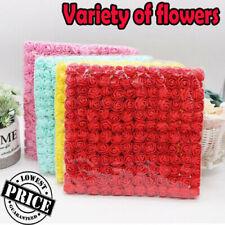 144Pcs Artificial Flowers Mini Foam Roses with stem Wedding Bouquet Decor Z4 UK