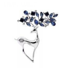 Elegant Vtg Style Silver Tone Blue Stone Antler Sparkly Detail Deer Pin Brooch