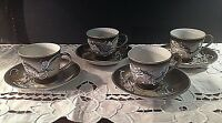 Vintage 1940s Betson Hand Painted Dragonware China Tea Footed Cup & Saucer Set 4