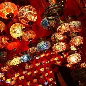 Turkish Moroccan Chandelier Glass Mosaic Ceiling Hanging Lamp Light FULL RANGE