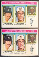HUNTER/PALMER/BLUE 1976 TOPPS LEAGUE LEADERS (2) VINTAGE CARD LOT #200