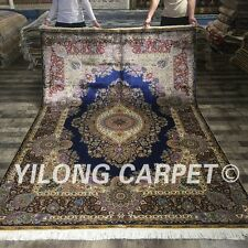 Yilong 6'x9' Tabriz Hand Knotted Exquisite Rug Floral Handmade Silk Carpets 083A