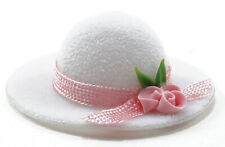 Miniature Dollhouse Ladies Hat White With Pink Trim 1:12 Scale New