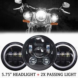 """5 3/4"""" 5.75 LED Headlight + 4.5"""" Passing Lights For Harley Touring Road King"""